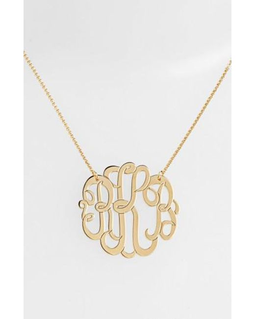 Argento Vivo   Metallic Personalized Large 3-initial Letter Monogram Necklace (nordstrom Exclusive)   Lyst