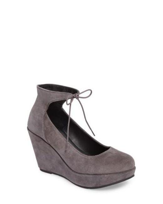 Cordani   Gray Remo Ankle Tie Platform Wedge   Lyst