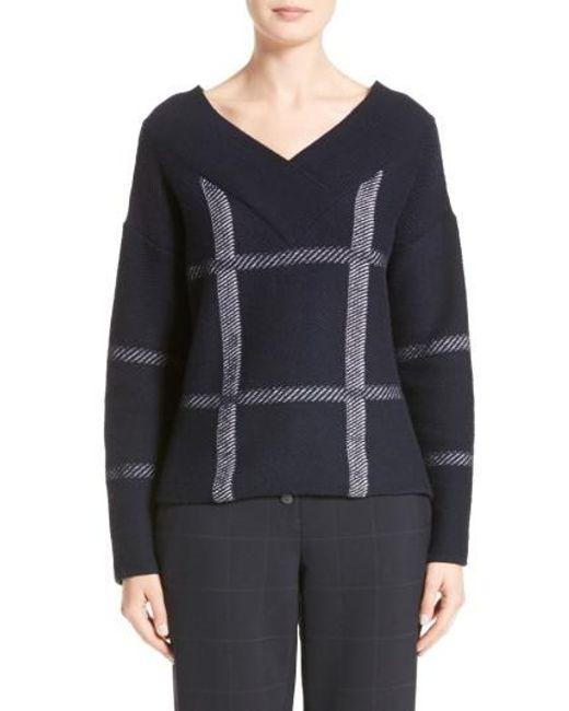 Armani   Blue Windowpane Wool & Cashmere Sweater   Lyst