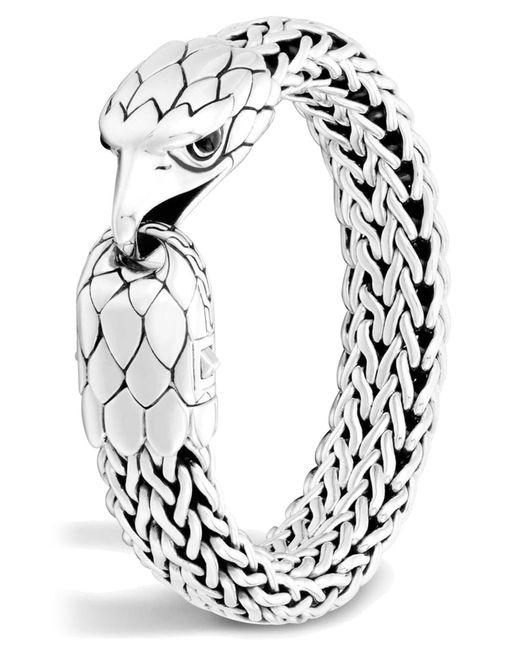 John Hardy - Metallic Sterling Silver Legends Eagle With Black Chalcedony Eyes Flat Chain Bracelet for Men - Lyst