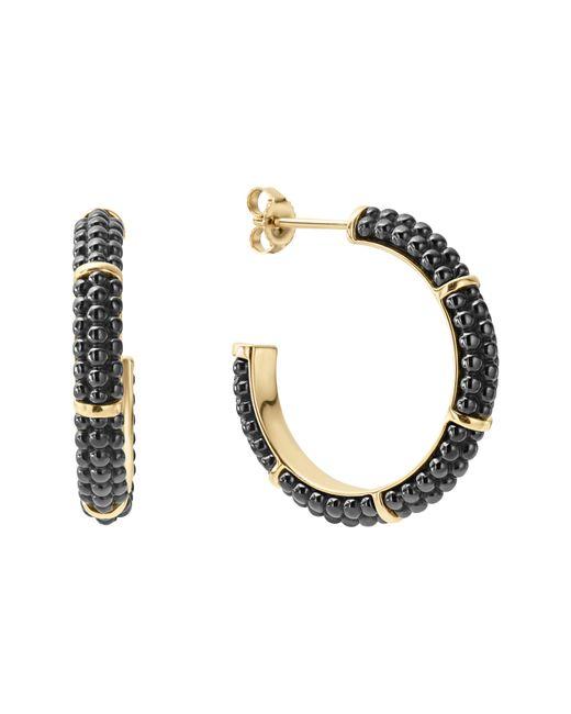 Lagos - Metallic Gold & Black Caviar Hoop Earrings - Lyst