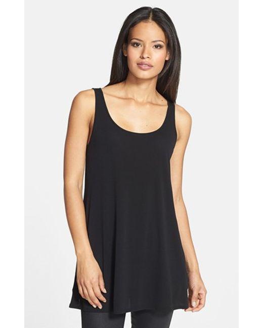 Eileen Fisher | Black Scoop Neck Silk Tunic | Lyst