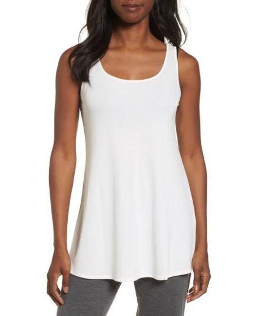 Eileen Fisher | White Scoop Neck Silk Tunic | Lyst