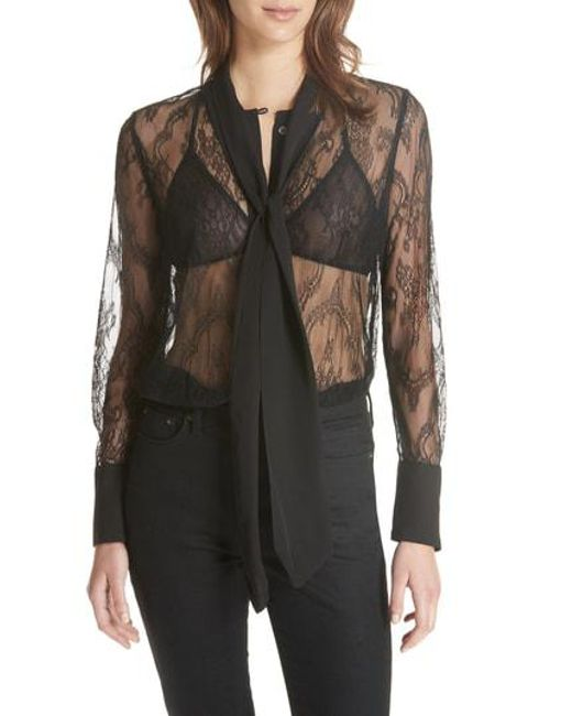 0be977b95562e Lyst - Equipment Luis Tie Neck Sheer Floral Lace Blouse in Black