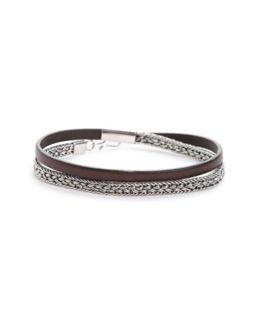 Caputo & Co. | Brown Sterling Silver & Leather Wrap Bracelet | Lyst