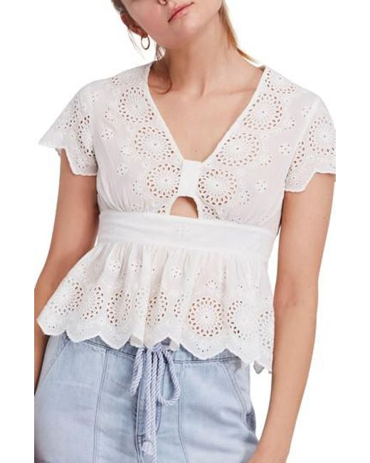 Free People - White Truly Yours Top - Lyst