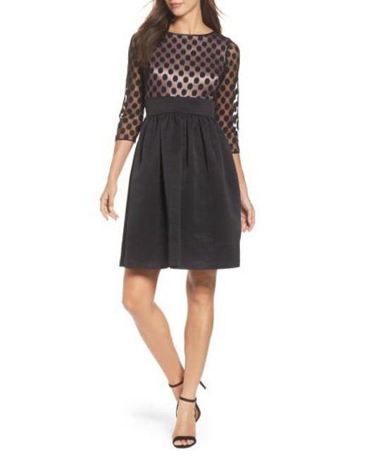 Eliza J | Black Dot Mesh Bodice Fit & Flare Dress | Lyst