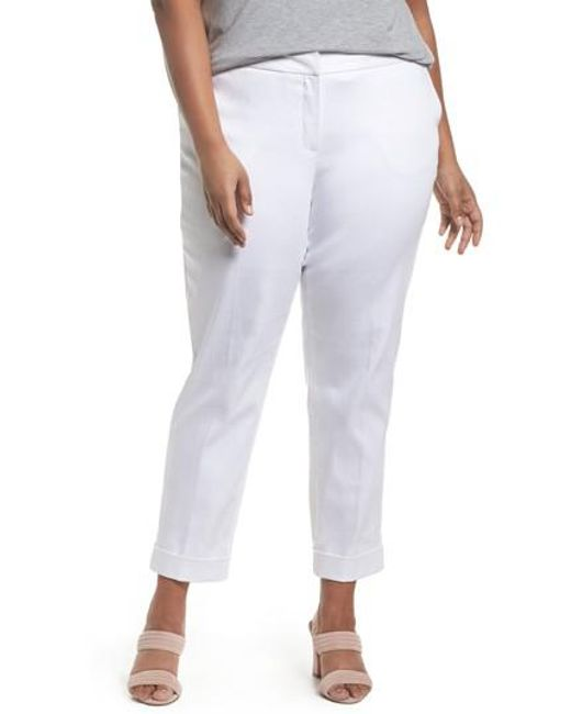 Sejour | White Stretch Twill Ankle Pants | Lyst