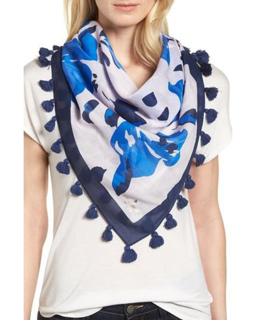Kate Spade - Blue Hibiscus Square Cotton & Silk Scarf - Lyst