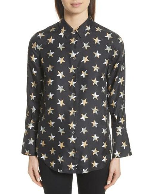Lyst equipment rossi button detail star print silk shirt for Equipment black silk shirt