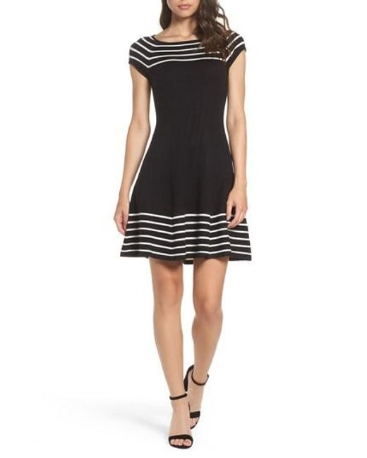 Eliza J | Black Striped Knit Dress | Lyst