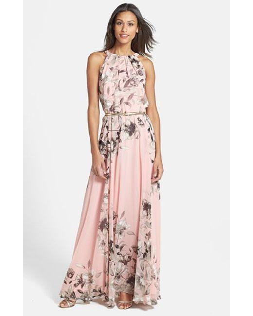 Eliza J | Pink Belted Chiffon Maxi Dress | Lyst