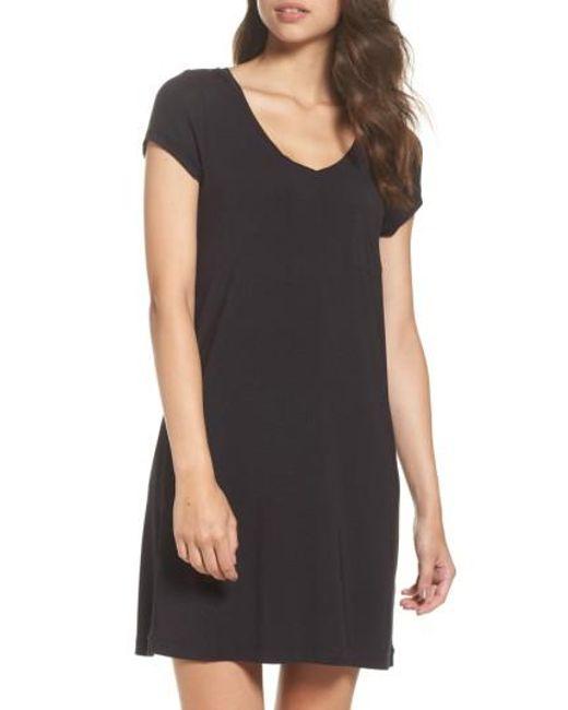 DKNY | Black 'city Essentials' V-neck Sleep Shirt | Lyst
