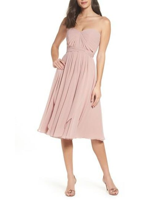 Jenny Yoo | Pink Emmie Convertible Chiffon Tea-length Dress | Lyst