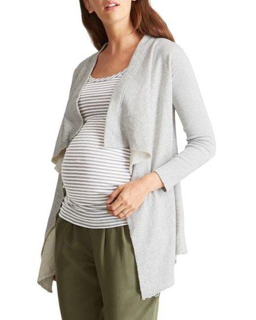Ingrid & Isabel - White Ingrid & Isabel Drape Front Maternity Cardigan - Lyst