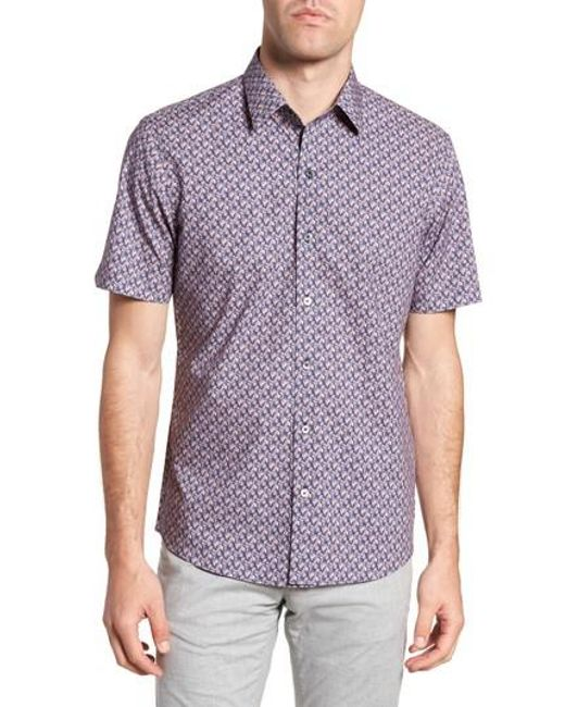 Zachary Prell - Purple Brice Trim Fit Scribble Print Sport Shirt for Men - Lyst
