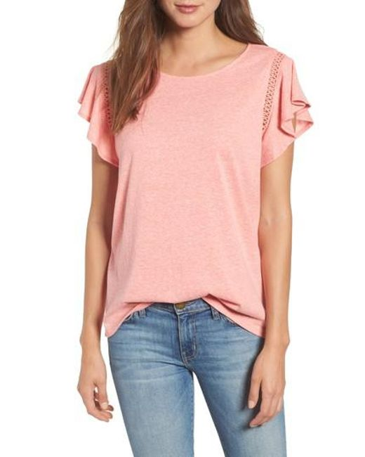 Caslon - Pink Caslon Flutter Sleeve Crochet Detail Top - Lyst