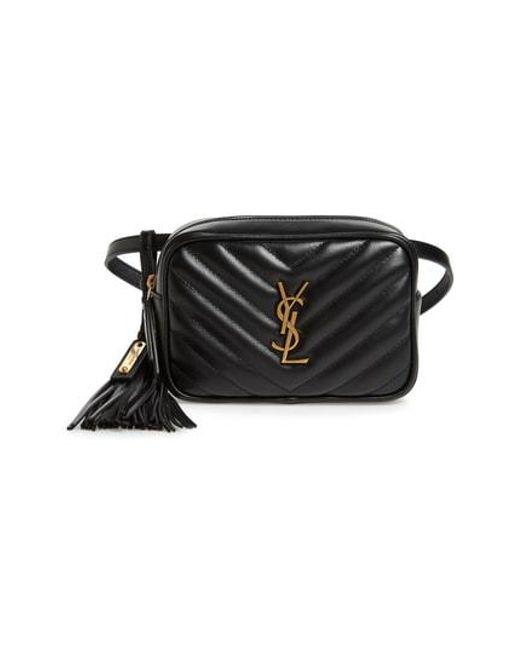 c81231e3a7 Lyst - Saint Laurent Loulou Matelasse Leather Belt Bag in Black