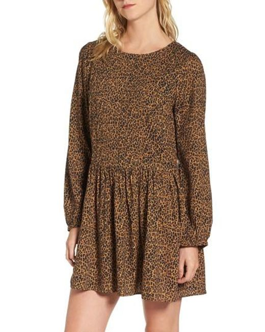 Hinge | Brown Pintuck Minidress | Lyst
