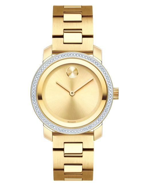 Movado - Metallic Bold Diamond Bezel Bracelet Watch - Lyst