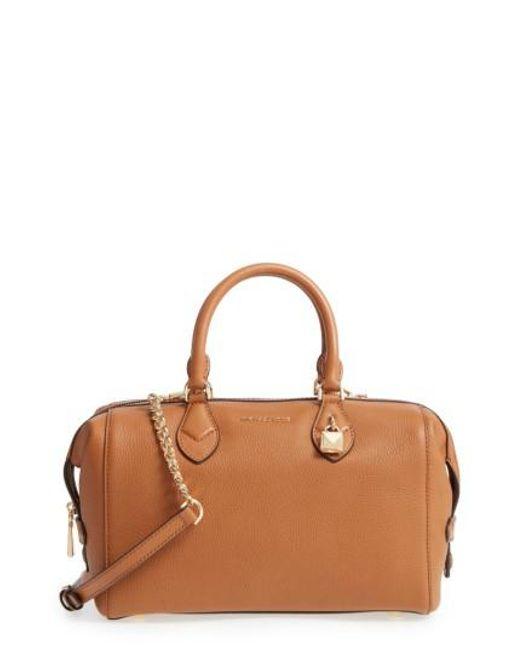 MICHAEL Michael Kors | Brown Large Grayson Convertible Leather Satchel | Lyst