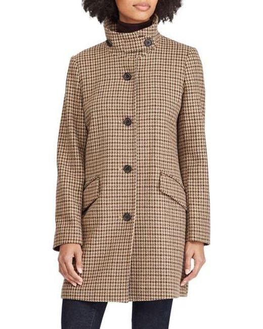 Lyst - Lauren By Ralph Lauren Houndstooth Check Coat in Brown 1ecf6eef6