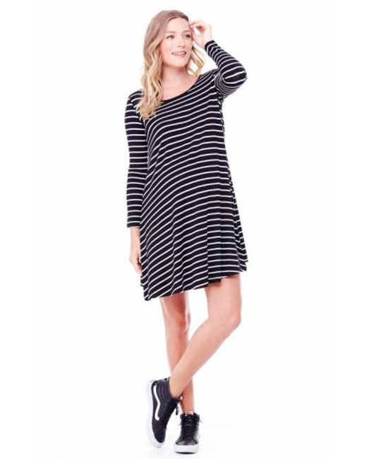 Ingrid & Isabel | Black Ingrid & Isabel Striped Maternity Trapeze Dress | Lyst
