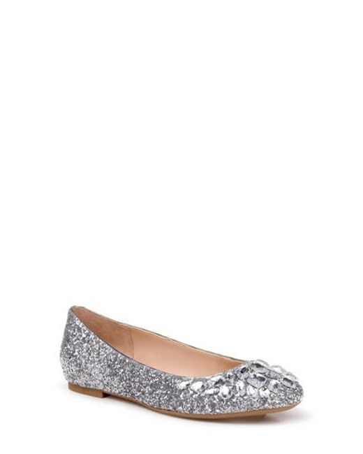 325575a92 Lyst - Badgley Mischka Mathilda Embellished Ballet Flat in Metallic
