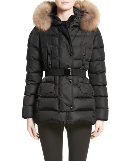 Moncler | Black Clio Belted Down Puffer Coat With Removable Genuine Fox Fur Trim | Lyst