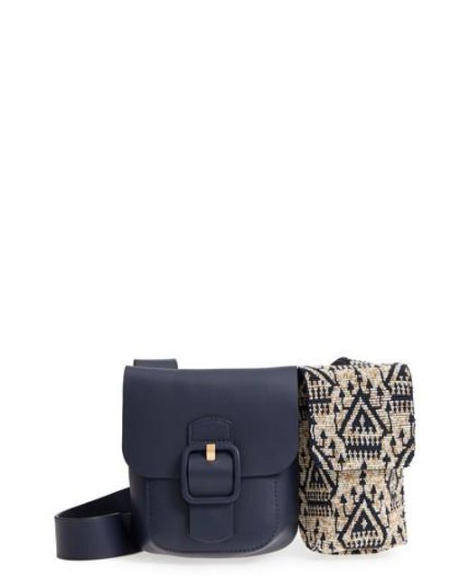 Tory Burch - Blue Sawyer Embellished Double Pocket Leather Shoulder Bag - Lyst