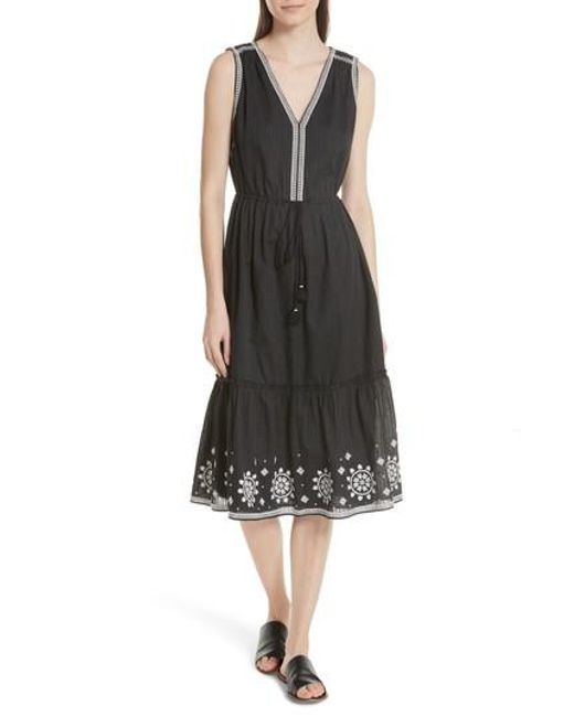 Kate Spade - Black Mosaic Embroidered Midi Dress - Lyst