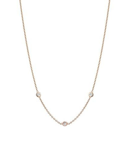 Kismet by Milka - Metallic Solitaire Diamond Necklace - Lyst