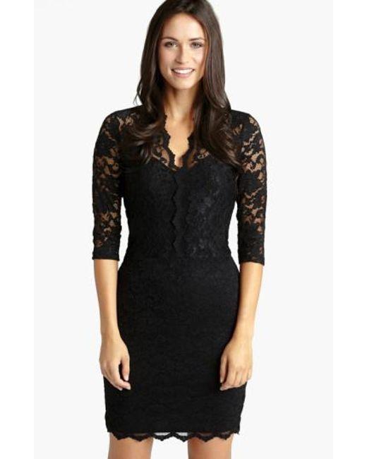 Lyst Karen Kane Scalloped Lace Sheath Dress In Black