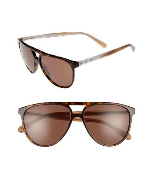 Burberry | Brown 58mm Aviator Sunglasses - Dark Havana | Lyst
