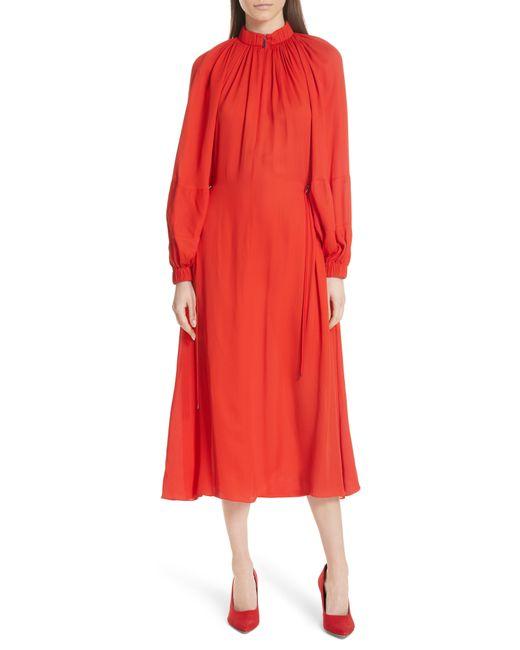 Tibi - Red Viscose Georgette Midi Drawstring Dress - Lyst