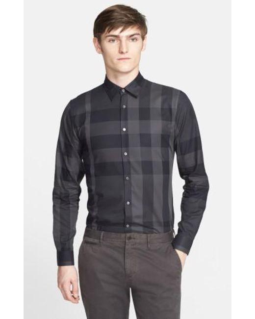 Burberry | Gray 'southbrook' Trim Fit Plaid Sport Shirt for Men | Lyst