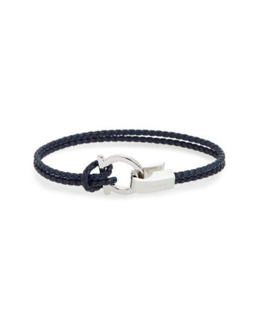 Ferragamo | Blue Double Braided Gancini Leather Bracelet | Lyst