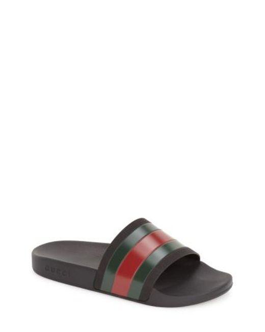 Gucci | Black Pursuit 72 Rubber Slides for Men | Lyst