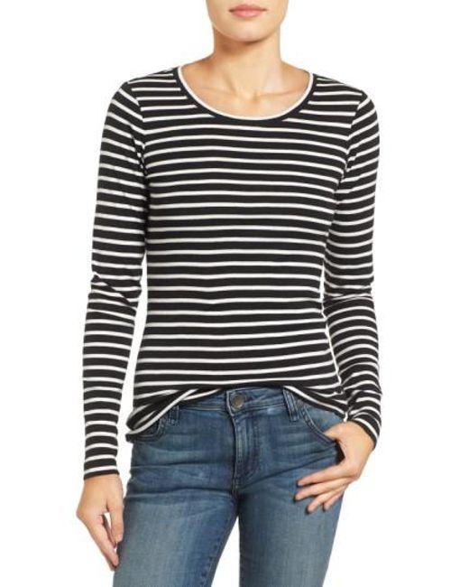 Caslon   Black Long-Sleeved Scoop Neck Cotton T-Shirt   Lyst