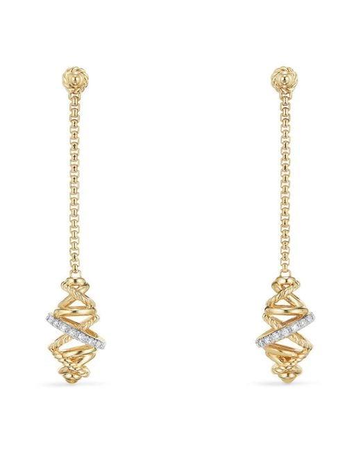 David Yurman - Metallic Crossover Chain Drop Earrings With Diamonds In 18k Gold - Lyst