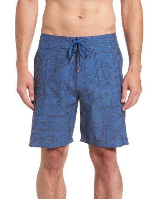 Cova - Blue It's O-fish-al Board Shorts for Men - Lyst