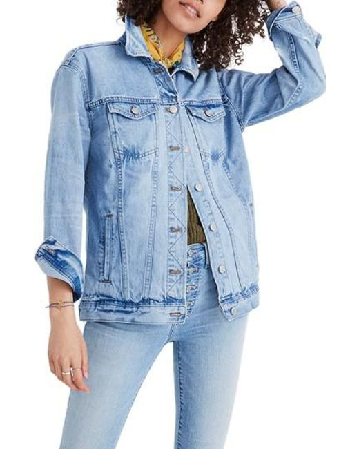 Madewell - Blue Distressed Oversize Jean Jacket - Lyst