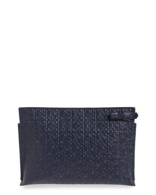 Loewe - Black Large Logo Embossed Calfskin Leather Pouch - - Lyst