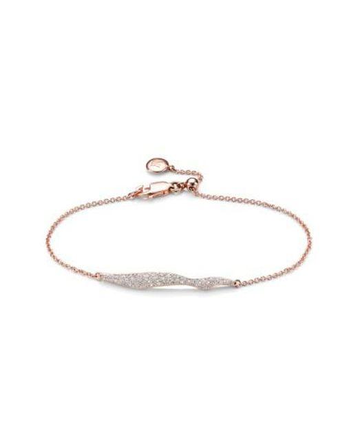 Monica Vinader | Metallic 'riva' Wave Diamond Charm Bracelet | Lyst