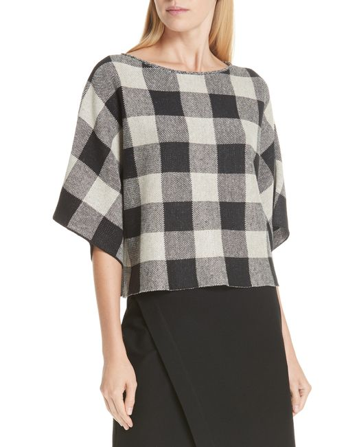 Eileen Fisher - Gray Check Plaid Organic Linen Top - Lyst