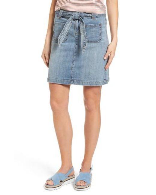 Caslon - Blue Caslon Belted Stretch Denim Skirt - Lyst