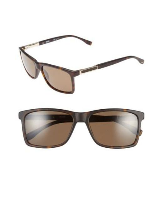 BOSS   Metallic '0704ps' 57mm Polarized Sunglasses - Dark Havana/ Light Gold/bronze for Men   Lyst