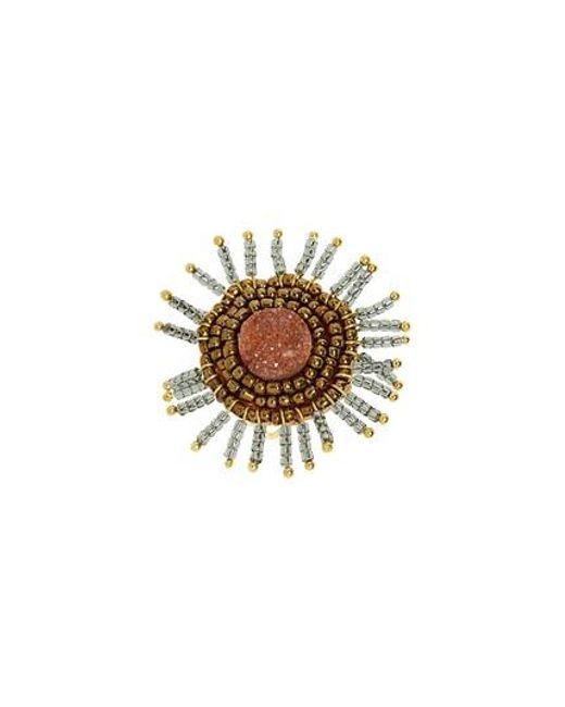 Panacea - Metallic Drusy Beaded Ring - Lyst