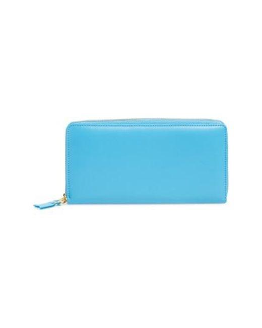 Comme des Garçons | Blue Leather Continental Long Wallet for Men | Lyst