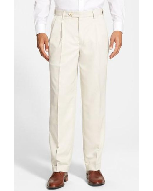 Berle | Natural Self Sizer Waist Pleated Trousers for Men | Lyst